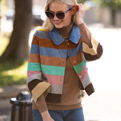 Suede Leather Short Striped Jacket - Pastel Colour Wave