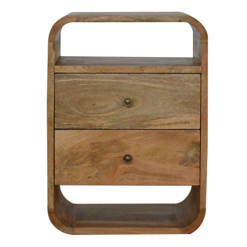 Rounded Bedside Table with 2 Drawers
