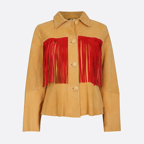 Suede Fringed Beaded Jacket - Mango/Red