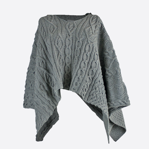 Hand Knitted Cable Hooded Poncho - Grey