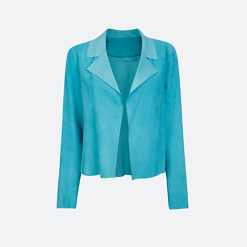 Suede Leather Classic Short Jacket - Turquoise