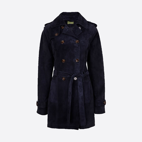 Suede Leather Short Trench Coat - Navy