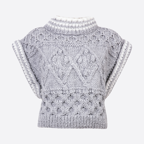 Alpaca Hand Knitted Cable Sleeveless Sweater - Grey