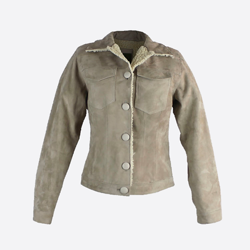 Suede Jacket With Man-Made Sheepskin Lining