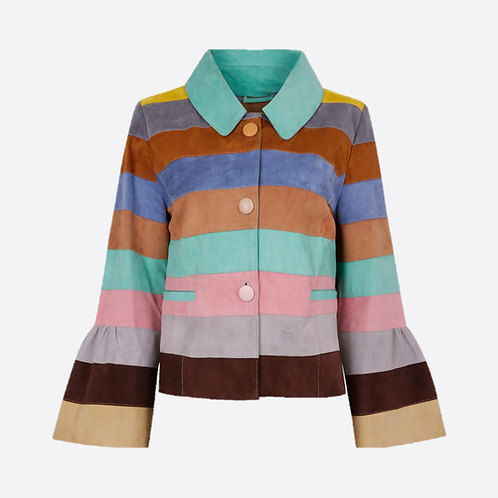 Suede Leather Short Striped Jacket - Pastel Colour Wave