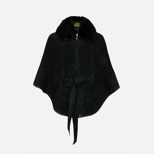Suede Leather Cape with Belt  and Detachable Fur Collar - Black