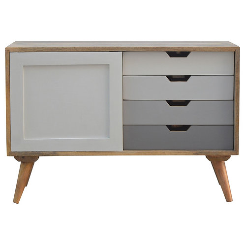 Painted Sliding Cabinet with 4 Drawers