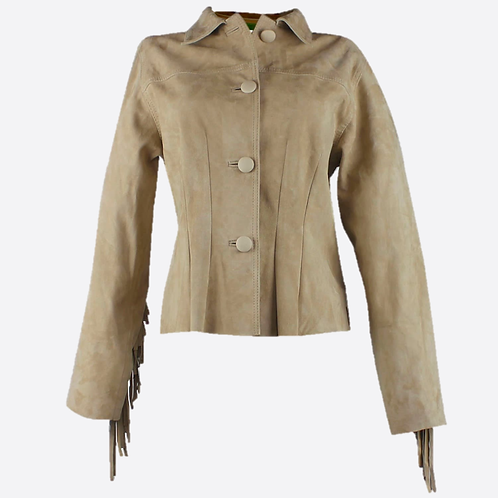 Fringed & Studded Suede Leather Fitted Jacket - Beige