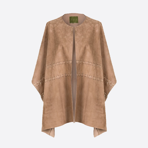 Suede Leather Ruana Shawl - Beige