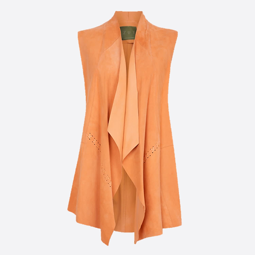 Suede Leather Sleeveless Jacket - Soft Orange
