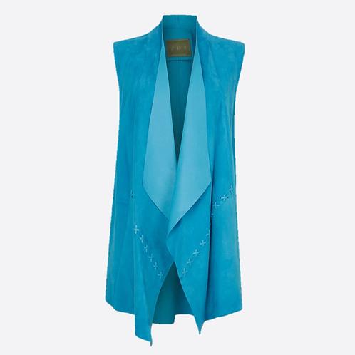 Suede Leather Sleeveless Jacket - Turquoise