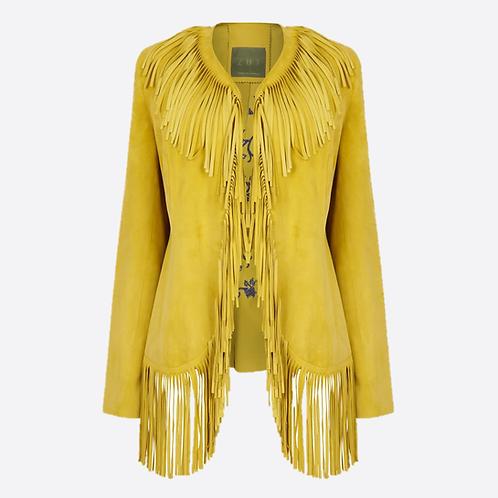 Fringed embroidered Jacket - Yellow
