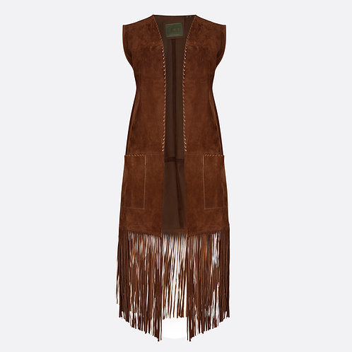 Suede Leather Sleeveless Fringed Coat with Hand Stitched Detail and Patch Pocket