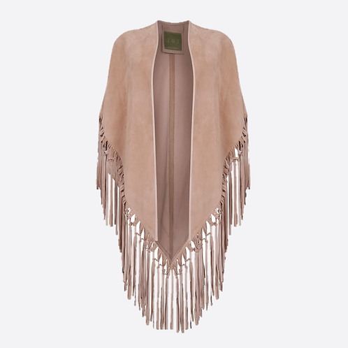 Suede Leather Knotted Fringe Shawl - Beige