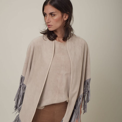 Suede Leather Knotted Fringe Shawl