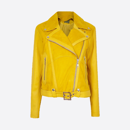 Classic Combined Suede & Leather Biker Jacket With Belt & Buckle - Yellow