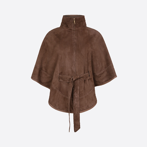 Suede Leather Cape With Belt - Honey