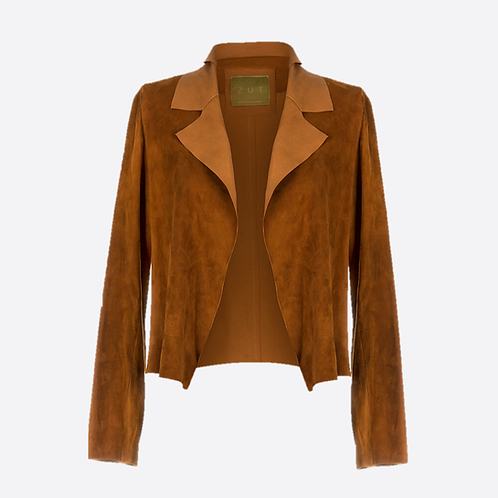 Suede Leather Classic Short Jacket - Honey
