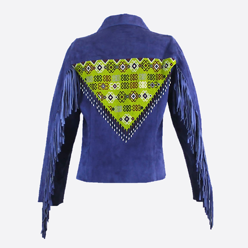 Hand Beaded & Fringed Suede Leather Fitted Jacket - Blue