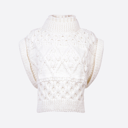 Alpaca Hand Knitted Cable Sleeveless Sweater - White