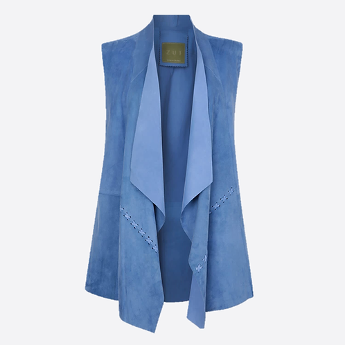 Suede Leather Sleeveless Jacket - Sky Blue