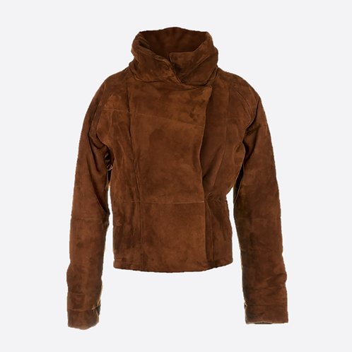 Suede Leather Padded Oversized Jacket - Cinnamon