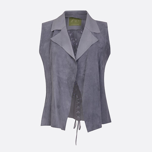 Suede Leather Waistcoat with Embroidered and Laced Back
