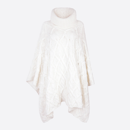 Alpaca Hand Knitted Cable Roll Neck Oversized Poncho - Winter White