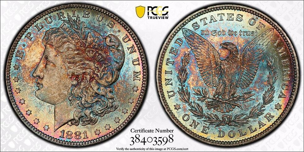 1881 Morgan Silver Dollar PCGS MS64 CAC Toner