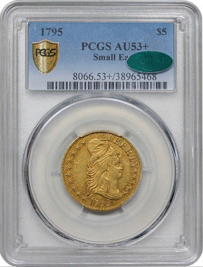1795 $5 Small Eagle Gold PCGS AU53+ CAC(SOLD)
