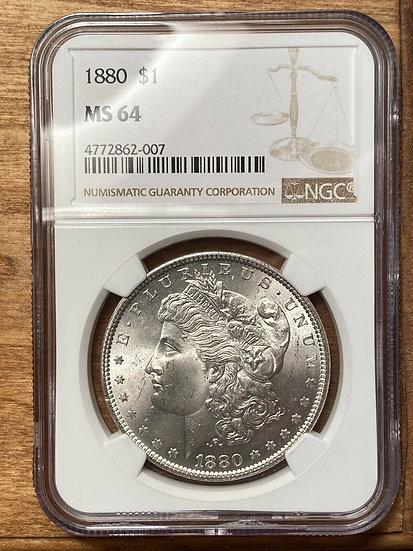 1880 Morgan Silver Dollar NGC MS64