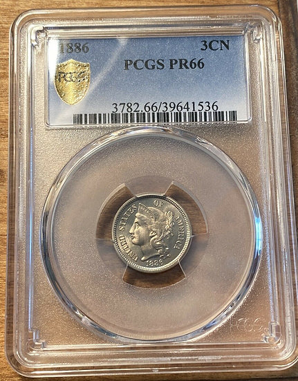 1886 Proof Three Cent Nickel PCGS PR66