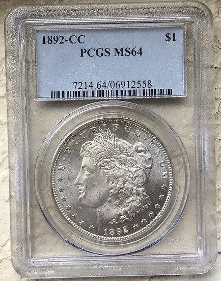 1892-CC Morgan Silver Dollar PCGS MS64