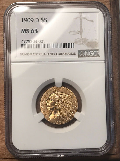 1909-D $5 Gold Indian NGC MS63(SOLD