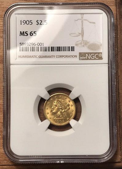 1905 $2.50 Gold Liberty NGC MS65 Choice