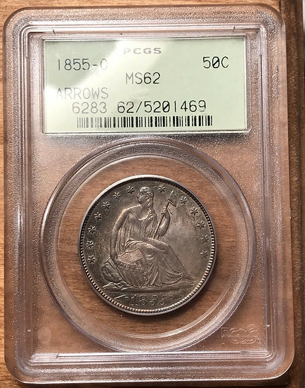 1855-O Arrows Seated Half Dollar PCGS MS62 Old Green Holder