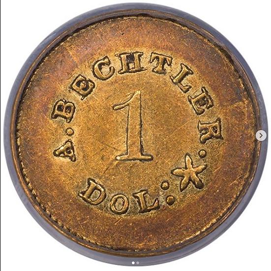 Bechtler Gold Dollar 27 Grains 21 Carat PCGS AU53 CAC
