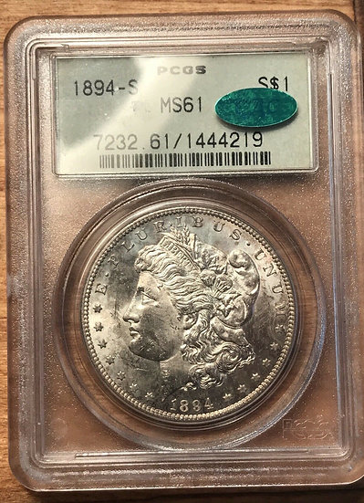 1894-S $1 Morgan Silver Dollar PCGS MS61 CAC Old Green Holder