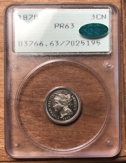 1870 Three Cent Nickel PCGS Rattler PR63 CAC