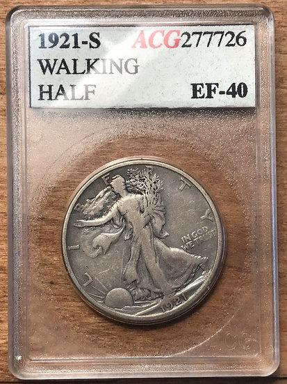 1921-S Walking Liberty Half Dollar Accugrade XF40