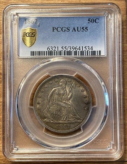 1867 Seated Liberty Half Dollar PCGS AU55