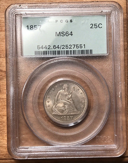 1857 Seated Liberty Quarter PCGS MS64 Old Green Holder
