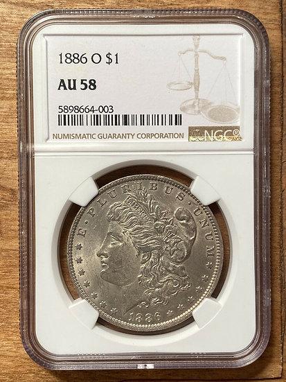 1886-O Morgan Silver Dollar NGC AU58