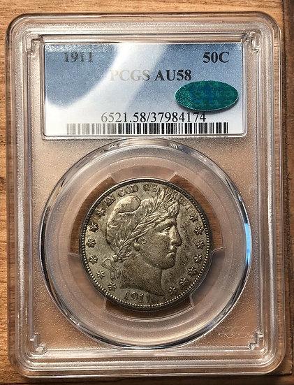 1911 Barber Half Dollar PCGS AU58 CAC