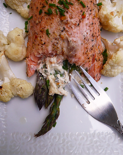Asparagus Stuffed Salmon Roll