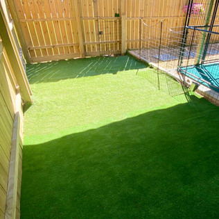 Small turf play yard over gravel