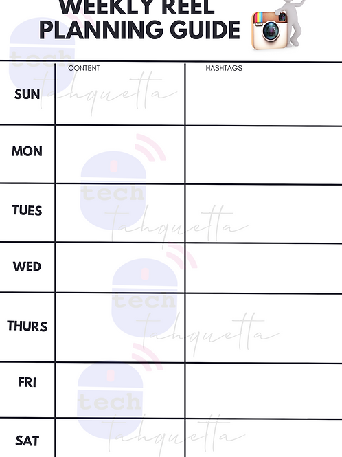 Weekly Reel Planning Guide (Fillable)
