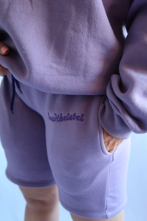 Purple embroidered shorts