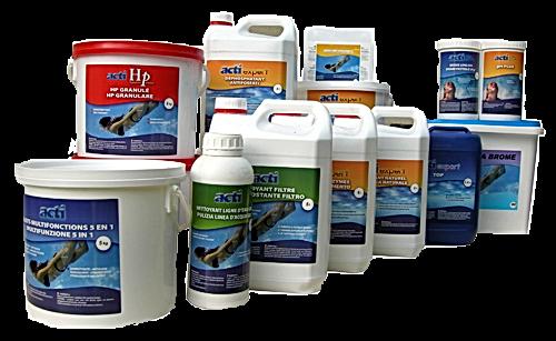 Gama de produtos de linha profissional usado por Visões d´Água Piscinas nos seus programas de manutenção.