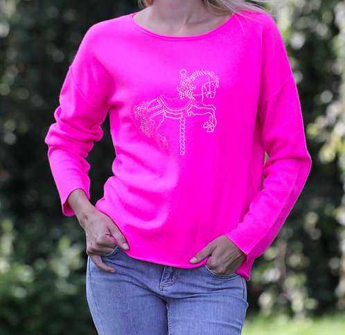 Cashmere Pullover Carrousel neonpink
